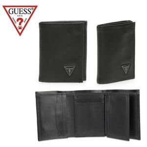 Guess Men's Trifold Black Wallet Black Plaque